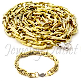 Stainless Steel Mens Link Chain Necklaces And Bracelet Set in 6 MM With 24 Inch Necklace and 6MM With 9 Inch Bracelet