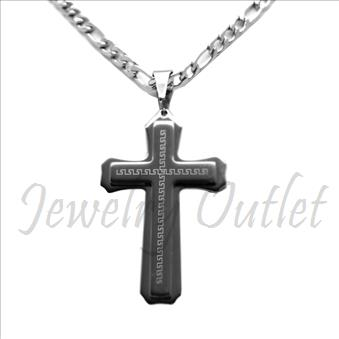 Stainless Steel Chain and Charm Combo Set Includes 30 Inch Length Figaro Chain With an Approximately 3.5 Inch Cross Tall Pendant