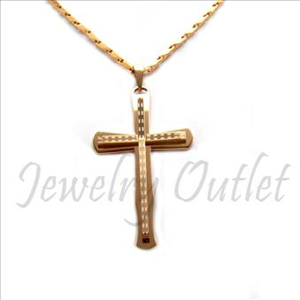 Stainless Steel Chain and Charm Combo Set Includes 30 Inch Length Bullets Chain With an Approximately 3.5 Inch Cross Tall Pendant