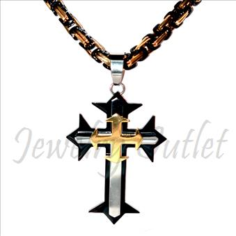 Stainless Steel Chain and Charm Combo Set Includes 30 Inch Length Byzantine Chain With an Approximately 3.5 Inch Cross Tall Pendant