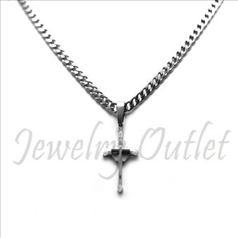 Stainless Steel Chain and Charm Combo Set Includes 24 Inch Length Cuban Chain With an Approximately 1.2 Inch Cross Pendant