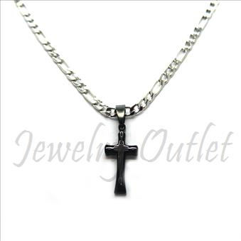 Stainless Steel Chain and Charm Combo Set Includes 24 Inch Length Figaro Chain With an Approximately 1.2 Inch Cross Pendant