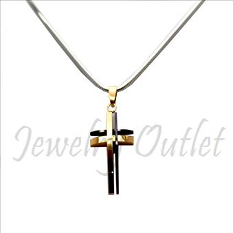 Stainless Steel Chain and Charm Combo Set Includes 24 Inch Length Snake Chain With an Approximately 1.2 Inch Cross Pendant
