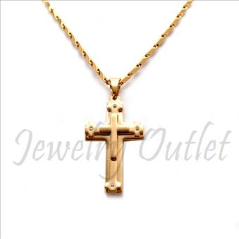 Stainless Steel Chain and Charm Combo Set Includes 24 Inch Length Bullet Chain With an Approximately 1.2 Inch Cross Pendant