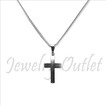 Stainless Steel Chain and Charm Combo Set Includes 24 Inch Length Franco Chain With an Approximately 1.2 Inch Cross Pendant