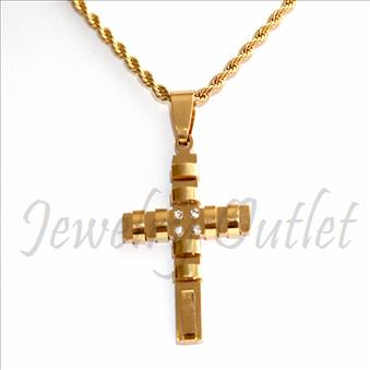Stainless Steel Chain and Charm Combo Set Includes 24 Inch Length Rope Chain With an Approximately 1.2 Inch Cross Pendant