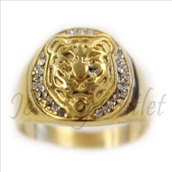 Stainless Steel Mens Ring Lion Face