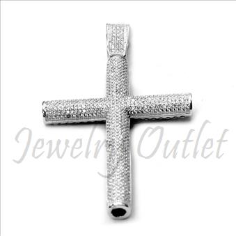 Sterling Silver Big Cross with Cubic Zirconia