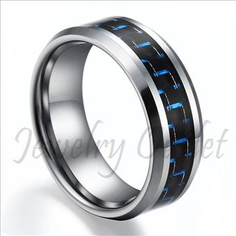 Tungsten High Polished With Blue & Black Carbon Fiber Band