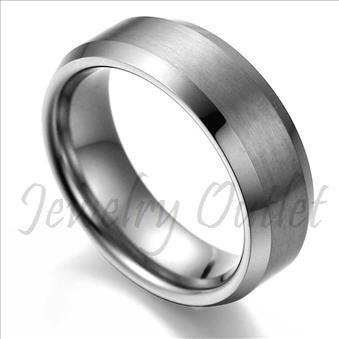 Tungsten Carbide Brushed & Polished Band