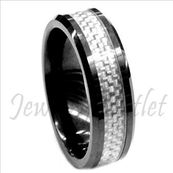 Tungsten Carbide Mens Ring with Grey Carbon Fiber Beveled Edges & Comfort Fit Ring (Sold Out)