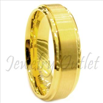 Tungsten Carbide Mens Ring with Gold Plating Beveled Edges Brushed & Comfort Fit Ring
