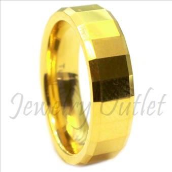 8mm Tungsten Carbide Mens Ring with Gold Plating Beveled Edges & Comfort Fit Ring