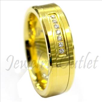 Tungsten Carbide Mens Ring with Stone & Gold Plating Beveled Edges & Comfort Fit Ring