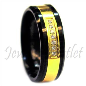 Tungsten Carbide Mens Ring with Stone & Center Gold Plating Beveled Edges & Comfort Fit Ring