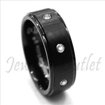 Tungsten Carbide Mens Ring with Stone & Comfort Fit Ring