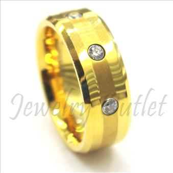 Tungsten Carbide Mens Ring with Gold Plating & Stone and Comfort Fit Ring