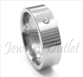 Tungsten Carbide Mens Ring With stone & Comfort Fit