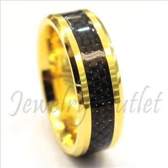 Tungsten Carbide Mens Ring with Black & Grey Carbon Fiber Beveled Edges & Comfort Fit Ring