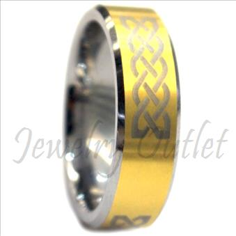 Tungsten Carbide Mens Ring with Beveled Edges & Comfort Fit Ring