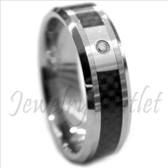 Tungsten Carbide Mens Ring with Black Carbon Fiber Beveled Edges & Comfort Fit Ring
