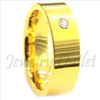 Tungsten Carbide Mens Ring With Gold Plating  Beveled Edges & Comfort Fit Ring