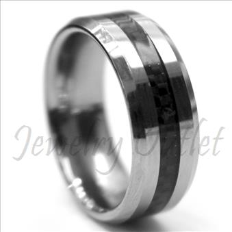 Tungsten Carbide Mens Ring with Grey Carbon Fiber Beveled Edges & Comfort Fit Ring