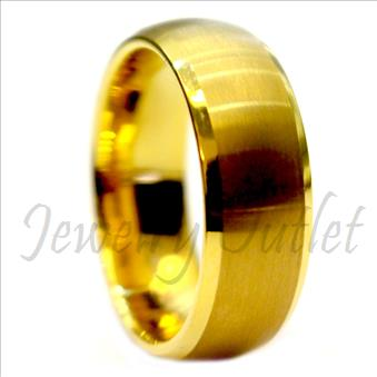 Tungsten Carbide Mens Ring with Gold Plating and High Polished
