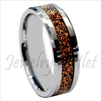 Tungsten Carbide Mens Ring Beveled Edges & Comfort Fit Ring