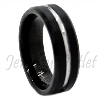 Tungsten Carbide white gold plated ring