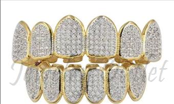 Hip Hop Grill CZ Solid Gold with White