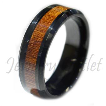 Tungsten Carbide Black Walnut Wood Inlaid Men's Wedding Ring