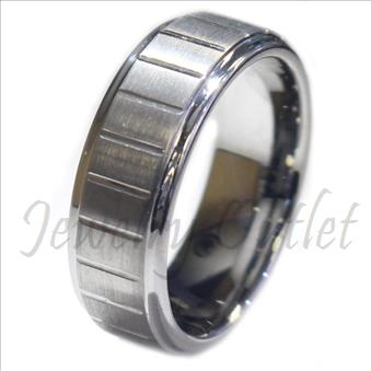 Tungsten Carbide Mens Ring Beveled Edges Comfort Fit Ring