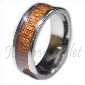 Tungsten Carbide Ring Walnut Wood Inlaid Men's Wedding Ring