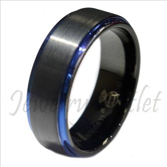 Tungsten Carbide Mens Ring Beveled Edges Comfort Fit