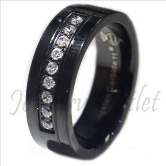 Tungsten Carbide Mens Ring with CZ Beveled Edges