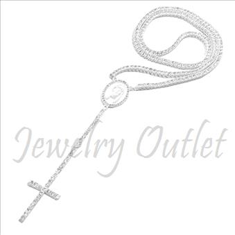 Hip Hop Fashion 1 Row Crystal Rosary Beautiful Shiny Stones and White Plating With White Stones30 inches Rosary Chain with 6 inches dangling part with Cross